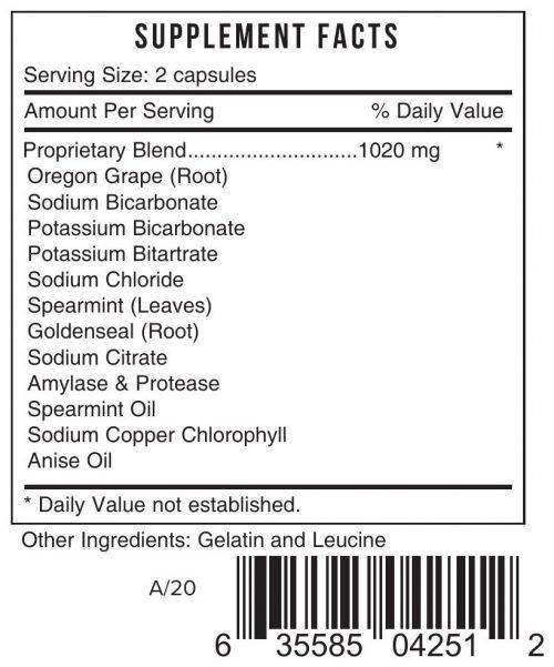 DIJS Acideze Heartburn Relief Systemic Formulas Bio Challenge 425 UPC 635585042512 Product Label
