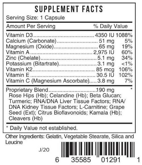 DV3 Vitamin D3 Immune Support Plus Bio Nutriment #129 Systemic Formulas UPC 635585012911 Product Label